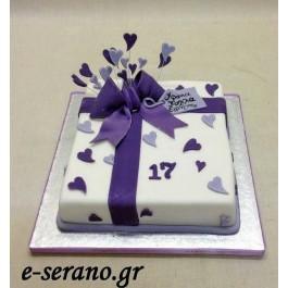 Τούρτα δώρο- φιόγκος purple