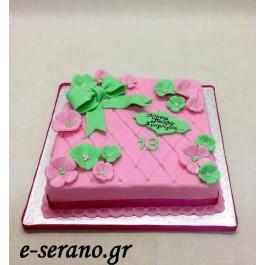 Τούρτα φιόγκος ρόζ- πράσινο