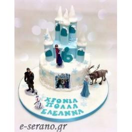Τούρτα κάστρο έλσα-άννα-όλαφ frozen