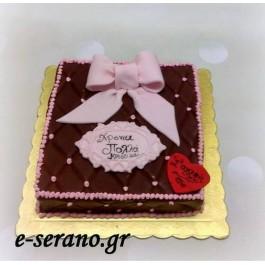 Τούρτα φιόγκος ρόζ-καφέ