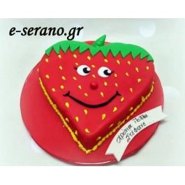 Τούρτα καρδιά φράουλα
