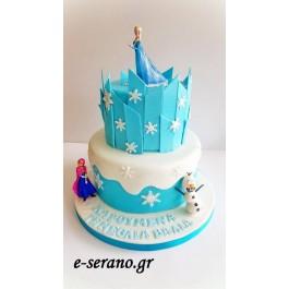 Τούρτα  frozen elsa-anna-olaf κάστρο