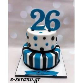 Τούρτα γενεθλίων πουά μπλέ μαύρο