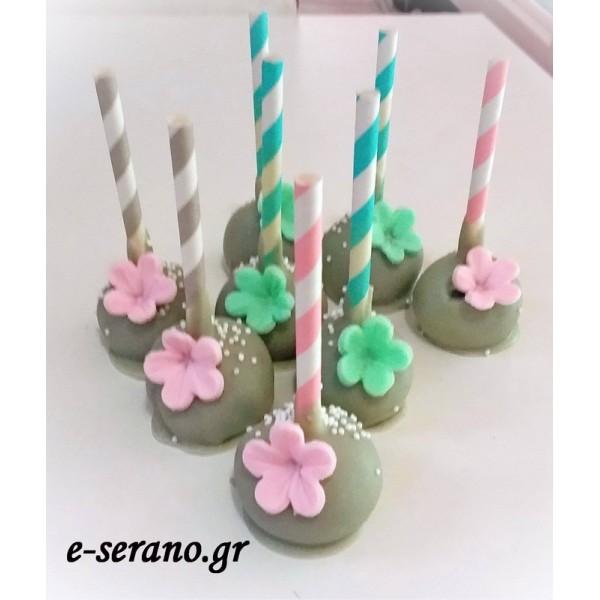 Cake pops λουλούδια ρόζ-βεραμάν