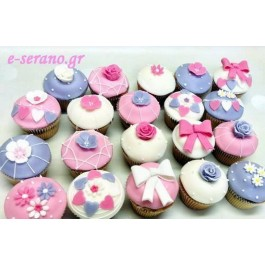Cupcakes λουλούδια-φιόγκος