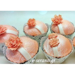 Cupcakes δαντέλα-λουλούδι