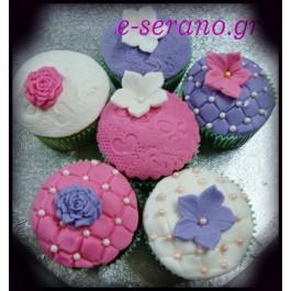 Cupcakes λουλούδια ρόζ-μώβ