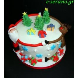 Χριστουγεννιάτικη τούρτα άγιος βασίλης με τον rudolf