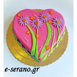 Τούρτα καρδιά-λουλούδια
