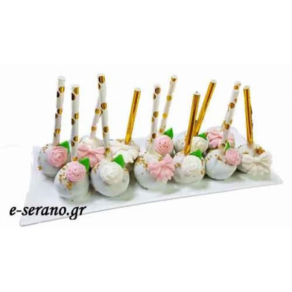 Cake pops ροζ φιόγκος-λουλούδια