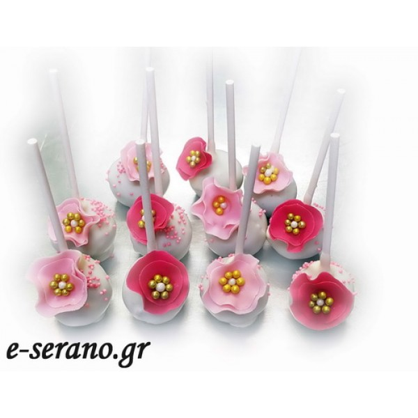 Cake pops ροζ λουλούδια