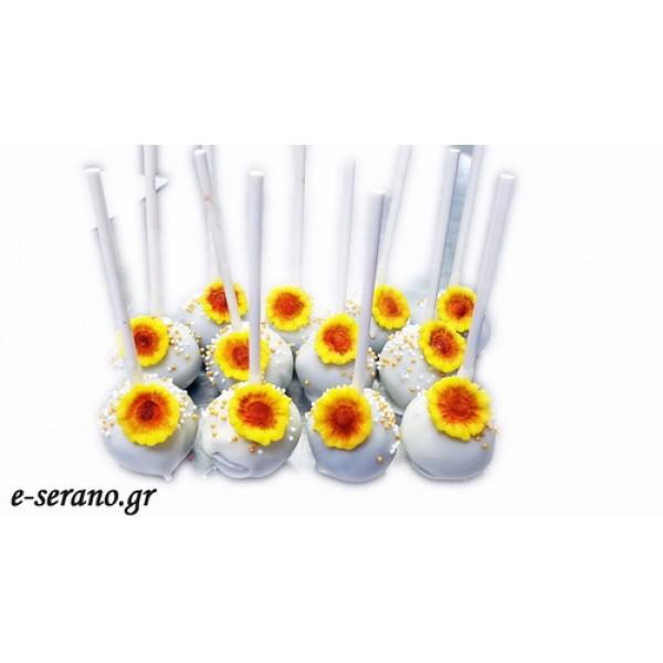 Cake pops κίτρινα λουλούδια