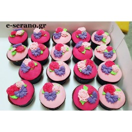 Cupcakes  ρόζ λουλούδια-φιόγκος