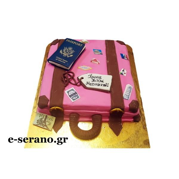Τούρτα ρόζ βαλίτσα-διαβατήριο