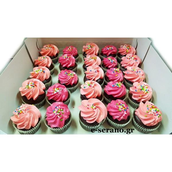 Cupcakes mini ρόζ-φούξια