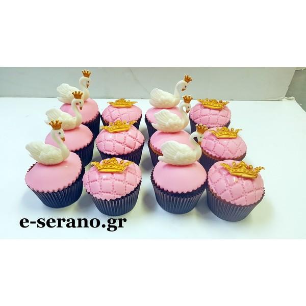 Cupcakes κύκνος-κορώνα