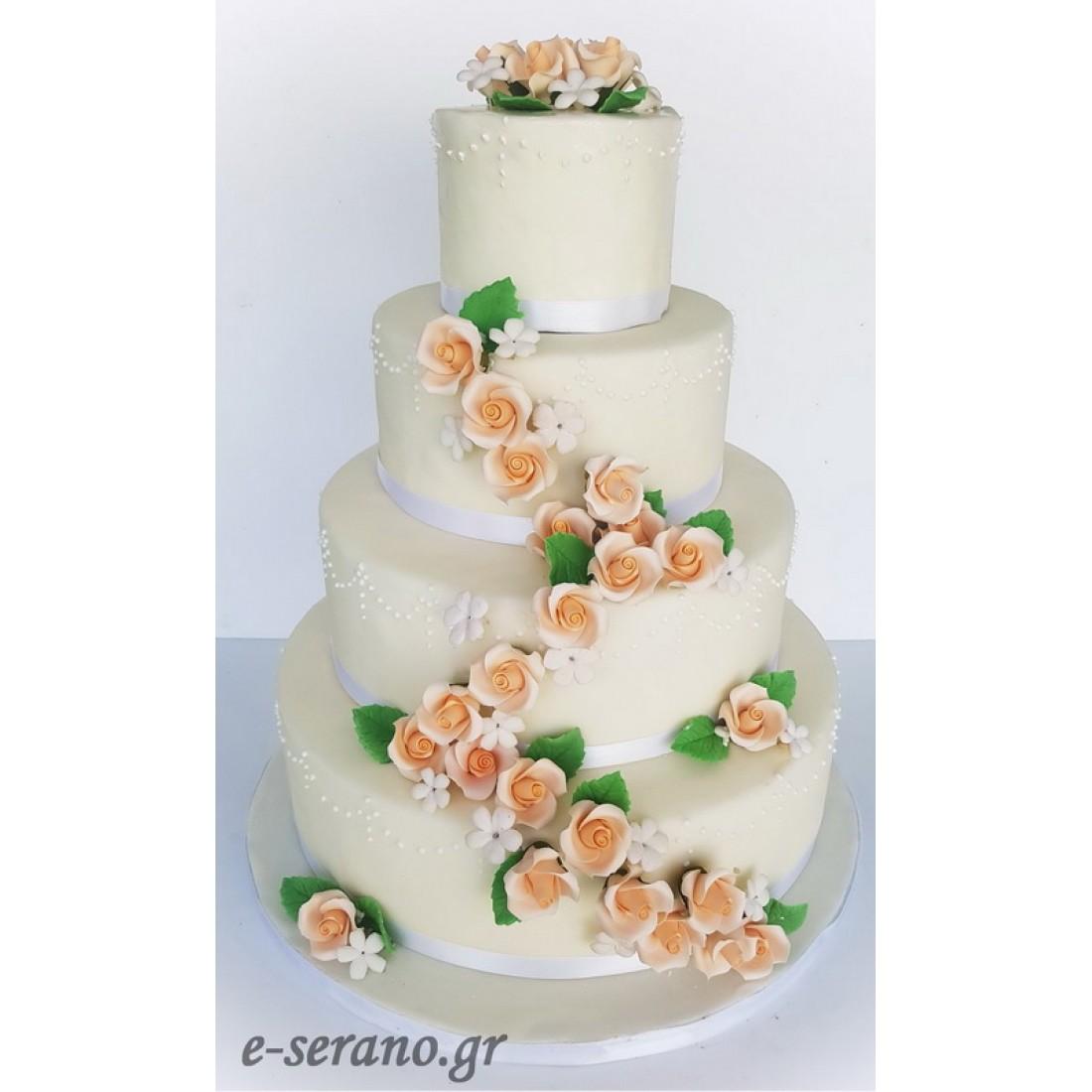 ee573ff0b029 Τούρτα γάμου σομόν λουλούδια