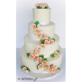 Τούρτα γάμου σομόν λουλούδια