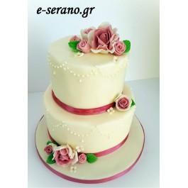 Τούρτα γάμου σάπιο μήλο λουλούδια